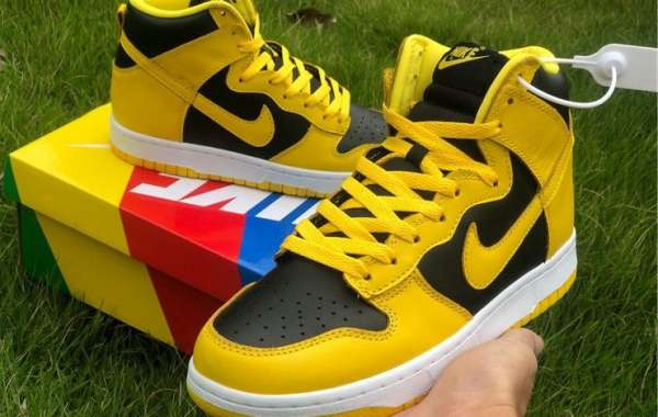 "New Nike Dunk High ""Varsity Maize"" Black/Yellow Sneakers Hot Sale"